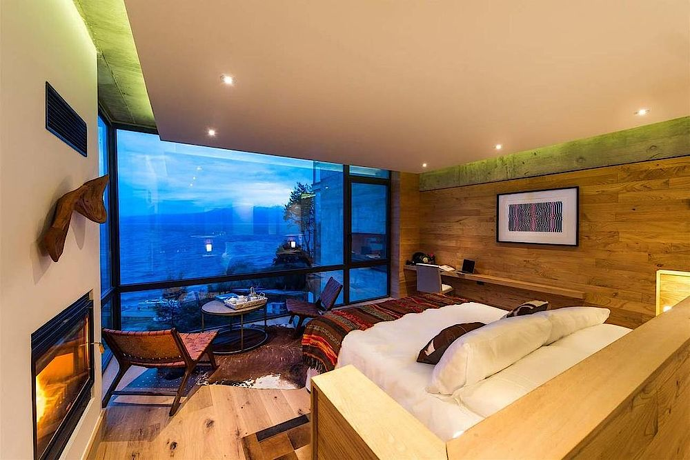 Chile Reise, Puerto Varas, Awa Hotel, Schlafzimmer, modern, Holz, See